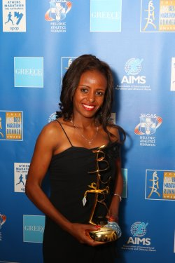 AIMS Best Marathon Runner award presented to Mare Dibaba
