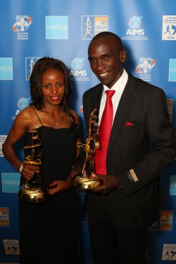 AIMS Best Marathon Runner Male & Female winners - Left to right  Mare Dibaba, Eliud Kipchoge