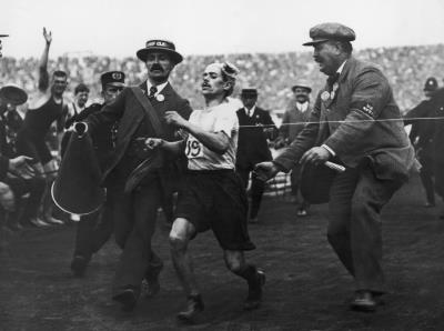 The marathon race in the 1908 Olympic Games