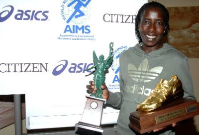 Lornah Kiplagat received two awards, World Athlete of the Year & AIMS/Citizen World's Fastest Time award