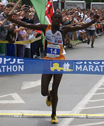 Kenyan runners Dickson Terer wins the Skopje marathon with a new course record of 2:23:51