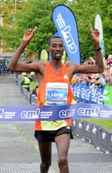 Tola Lema finished only six seconds off the course record of the Edinburgh Marathon