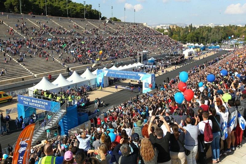 4 athens marathon finish inside the panathenaic stadium